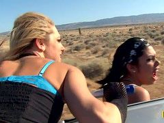 Lesbian group sex on the pick up in desert