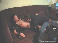 He fools around with big tits amateur brunette