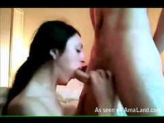 Mouthy blowjob from cute brunette is sexy