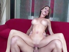 Sarah Jessie bounces her hot pussy on this thick shaft
