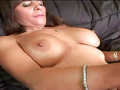 Hot Brunette Mature Busty Cougar Diddles and Bangs