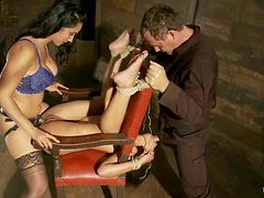 Skin Diamond Tied in Exposed Position for Isis Love's Strapon Dildo