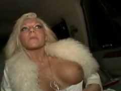 Stunning blondie in white sexy dress Diamond fingers her pussy in the limo