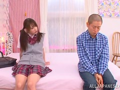 Cute Pigtailed Japanese School Girl Rina Osawa Sucks and Gets Fucked