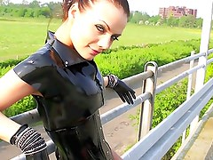 Black Latex High Heel Walk