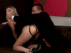 Young tempting blonde slut Cherry Jul with natural boobs and long legs in black thong