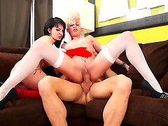 Black haired Amanda X with big juicy knockers and big tattoo in red lingerie and slutty