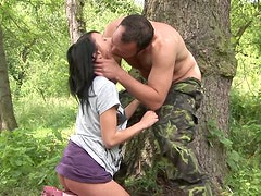 Smiling brunette cutie Angelica gets her pussy drilled by fisherman outdoors