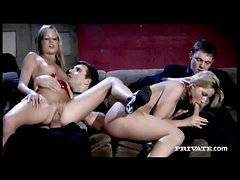 Two slim and hot women fucked in foursome