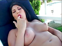 Makayla Cox Lounges Poolside Rubbing Her Snatch