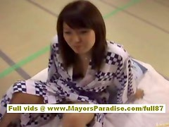 Japanese AV model gets to ride a hard cock