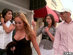 Crazy girls give a blowjob right in a the street in TV show