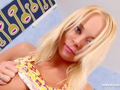 Sexy blond babe Nancy forgets about everything on a cock