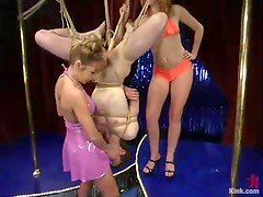 Kinky Pole Dancers Give Extreme Bondage and Pegging to a Guy