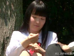 Slutty Japanese chick blows and gets fucked in a forest