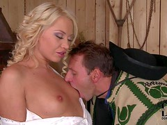 Lovely village blonde Lindsey Olsen in long virgin white dress