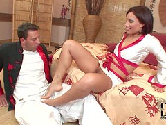 Naughty brunette Sylvia Laurent spreads her legs invitingly in front