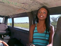 Young pretty black girl Tiffany Tailor with long legs and pretty face takes off clothes and