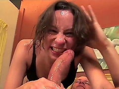 Young tempting brunette slut Amber Rayne with natural boobs and slim body in black underwear