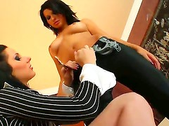 Two sexual brunette slutty chicks are having unforgettable threesome FFM fuck with one dude.
