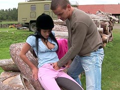 Country girl Angelica gets her tight pink pussy licked in dirty outdoor sex clip