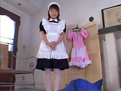Flamboyant Japanese maid gives tit fuck and blowjob to dildo