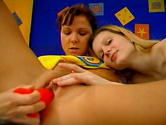 Cute brunette and blond teens thirst for delight and gonna tease each other's cunts