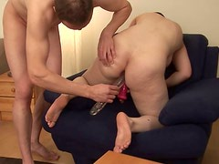 Fat country girl drills her pussy with big dildo