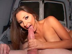 Straight haired busty brunette Jane gonna give a solid blowjob for sperm