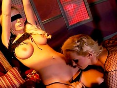 Incredibly voracious hot blindfolded gals get their pussies licked and pounded hard