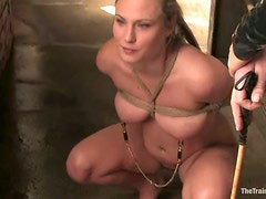 Tortured Blonde Forced to Toy Herself for Orgasm in BDSM Vid