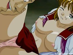 Anime hottie blows and gets her vag fucked and toyed