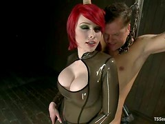 Dominant Red-Haired Shemale Sarina Valentina Fucks and Gets Fucked by Guy