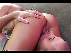 Busty blonde gets a facial after sucking on a big cock
