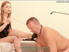 Hot women in high heels abuse submissive