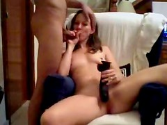 Teen gives blowjob and mounts toy on webcam