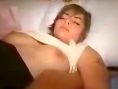 Horny amateur plays with pecker before getting laid