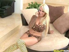 Sexy milf in leopard is calls him in to fuck her