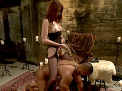 Big Guy Getting Dominated by Kinky Bitch Maitresse Madeline in Bondage Vid