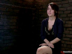 Petite brunette babe gets fucked and facialed by prisoners
