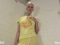 Horny blond Cherry Tron gets pissed and dicked in mouth