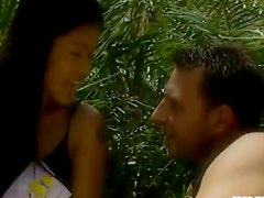 Exotic Asian babe gets fucked in the jungle