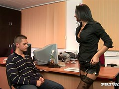 Sexy office girl is riding her client's huge cock