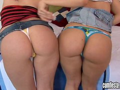Two brunette chicks suck and ride big dick in a threesome