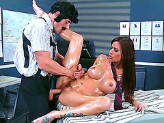 Gia DiMarco gets oiled by Johnny Sins during massage he gives her. Pal is playing with