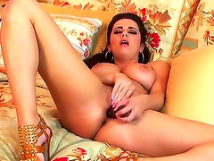 Turned on naked brunette Taylor Vixen with french manicure and big jaw dropping tits spreads
