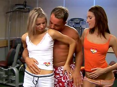Fit randy girls in hardcore double blowjob sex scene fucking hard in FFM 3some action