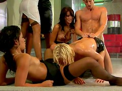 Spectacular gangbang scene with incredibly hot chicks