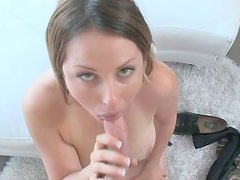 Light long haired gal called Erica gives a solid blowjob for gooey cum