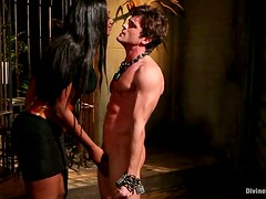 Ebony Nyomi Banxxx Strapon Fucking Submissive White Guy in Femdom Vid